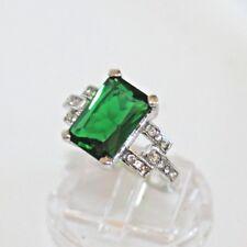 Smaragd grün Zirkonia Akzent Damen Ring WeißGold 10K GP (375) Gr 58 Ø18,4 mm