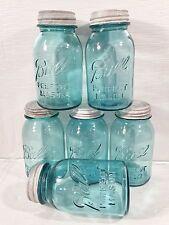 6 Vtg Blue BALL w/o Underscore Perfect Mason Quart Canning Jars w/Zinc Lids