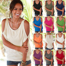 UK Womens Cold Shoulder Ladies Summer T Shirt Loose Casual Tops Blouse Plus Size