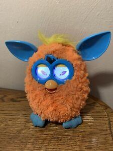 Furby Orangutan Orange w/ Blue Ears Light Up Eyes Yellow Hair