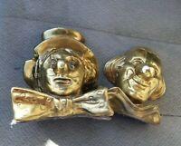 Vintage PM Craftsman Heavy Brass Clown Head Bookends / Door Stops
