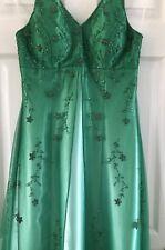 Stunning TWO ROADS Emerald Green Full Length Dress With Beaded Net Overlay UK 8