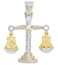 Mens 10K Yellow Gold Lucky Libra Weighing Scale Real Diamond Charm Pendant .75CT