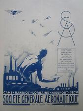 4/1930 PUB SGA AERONAUTIQUE MOTEUR AVION HYDRAVION USINE CAMS SECM LORRAINE AD