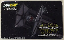 Subway Canada STAR WARS 2 of 2 collectible gift card (no cash value) French/Eng