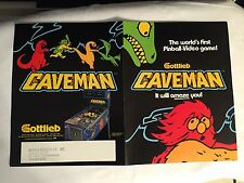 FACTORY ORIGINAL 1982 GOTTLIEB CAVEMAN PINBALL PROMO FLYER MINT