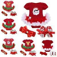 Baby Girls Christmas Santa Outfits Romper Headband Crib Shoes Party Tutu Costume