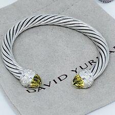 New Model! David Yurman Silver Classic Diamond Lemon Citrine 7mm Cable Bracelet
