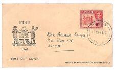 Y187 1948 Fiji * Suva * escasa cubierta ilustrada BC-FDCs {samwells-cubre} Pts