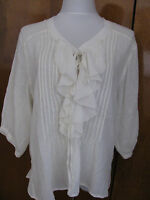 Denim & Supply white cotton detailed womens with sleeves top New
