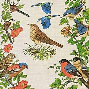IRISH LINEN Tea Towel, UK Garden & Woodland Birds - Vintage RSNC