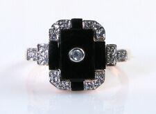LUSH 9K 9CT ROSE GOLD ONYX & DIAMOND ART DECO INS RING FREE RESIZE