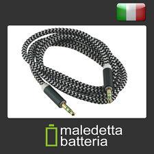 Cavo Audio AUX Jack 3.5mm (maschio-maschio) TRS 1 mt. tessuto nero - cuffie (XD4