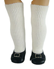"Colonial Shoes + Thigh High Socks for 18"" American Girl Felicity Doll Clothes"