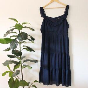 Woman Plus Size Boohoo Blue Maxi Frill Cold Shoulder Dress ~ Size 20