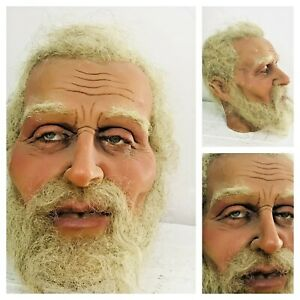 Life Size Wax Old Man Head Realistic Prop Display 1:1 Vtg Glass Eyes Real Hair