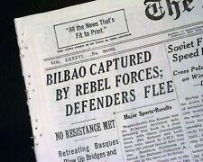 BATTLE OF BILBAO Spanish Civil War Nationalist Army Spain CAPTURE 1937 Newspaper