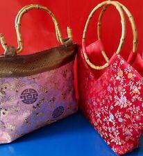 2 Henkeltaschen Bambus Abendtaschen Damentaschen Seidenkleider NEU