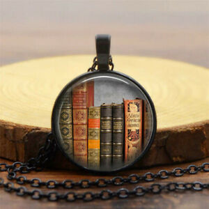 Vintage Library Books Art Photo Cabochon Black Glass Pendant Chain Necklace Gift