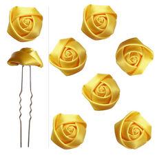 6 épingles pics cheveux chignon mariage mariée danse boutons de rose satin Jaune