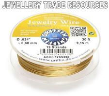 """GRIFFIN GOLD PLATED STEEL BEADING JEWELRY WIRE .024"""" / 0.60mm 30 FT. 19 STRAND"""
