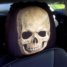 BROWN SKULL  DESIGN CAR SEAT HEAD REST COVERS PACK OF 2 MADE IN YORKSHIRE