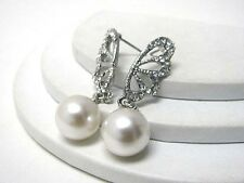 H13 Crystal Faux Pearl Ivory Cream Formal Bridal EARRING