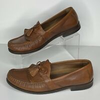 Johnston And Murphy Mens Brown Leather Kiltie Tassel Loafers Shoes Size 9M