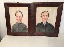Unusual Pair Of Portrait Paintings In Antique Frames Folk Art
