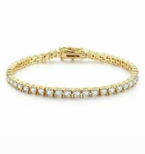 "4.25Ct Diamond Tennis Bracelet 8"" One Row Round Diamonds 14K Yellow Gold Finish"
