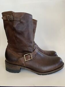$300 VINTAGE SHOE COMPANY BOOTS 11.5 LEATHER BROWN MOTO MOTORCYCLE NEW NORDSTROM