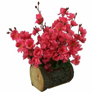 Wood & Plastic Artificial Blossom Flowers in Wood Buckle Pot (30 cm, Cherry)