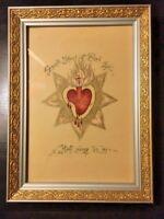 Catholic Art - Vintage Sacred Heart of Jesus - Hand Painted Original
