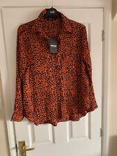Satin Leopard Orange Navy Print FOREVAYOUNG Blouse XL 14-16 Rrp £59.95