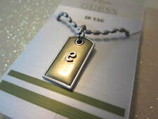 Guess Initial ID Tag e Necklace 16-18 inches