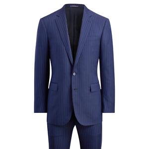 Ralph Lauren Purple Label Anthony 2 Button Notch Lapel Striped Wool Suit 40R
