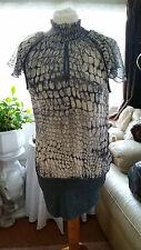 Regards nouveau femme lady's femme gris mini robe top à volants cou taille 12 m lili