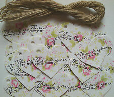 25 'Thank You Very Much' Pink Rose Heart Tags Vintage Style Wedding Favours