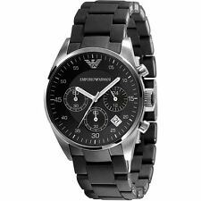 NEW EMPORIO ARMANI AR5868 BLACK LADIES CHRONOGRAPH WATCH - 2 YEAR WARRANTY