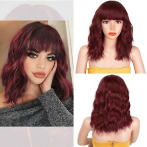 Women Ladies Natural Short Wavy Curly Hair Bob Full Wig With Bangs Cosplay Party