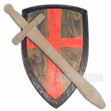 WOODEN DEFENDER SOLDIER RED CROSS SHIELD & WOODEN SWORD ROLE PLAY FANCY DRESS