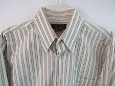 Toscano Button Front Long Sleeve Striped Dress Shirt Size L 100% Cotton