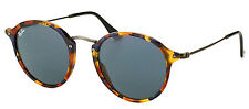 New Ray Ban RB 2447 Round Fleck 1158R5 Spotted Blue Havana Sunglasses Blue Lens