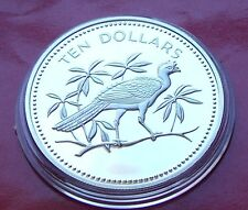 GEM SILVER PROOF 1975 BELIZE STERLING SILVER 10 DOLLARS  GREAT CURRASOW 40mm,