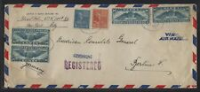 1940 #C24 Registered Air Mail Cover to American Consulate in Berlin