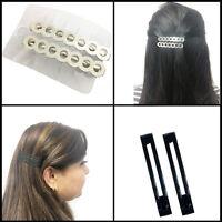 2 Barrette Hair Pin Clip Side Grip Metal Black Silver Snag Free Plain Unsprung