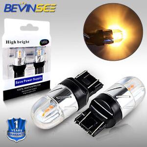 2x T20 7443 W21W LED Sidelight Bulbs Reverse Lamp Turn Signal Brake Light Amber