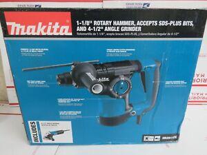 "Makita 1-1/8"" Rotary Hammer w/ 4-1/2"" Angle Grinder HR2811FX"