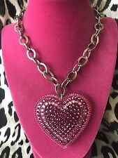 Tarina Tarantino Vintage HUGE Big Love Pink Lucite Heart Crystal Necklace RARE