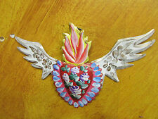 Winged Sacred Heart Tin Door Topper #2--Painted-Mexican Folk Art-Handmade-8x5 in